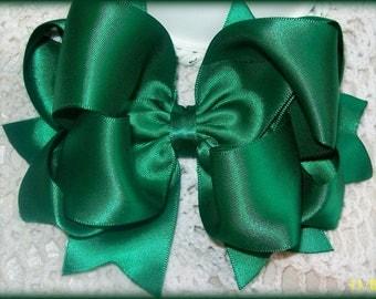 Forest Green Satin Hair Bow....Double faced satin hair bow....Satin Hair Bow....Girls Hair Bow...Toddler Hair Bow...Infant Hair bow