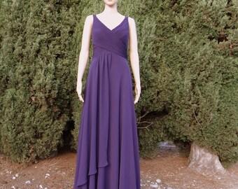 Dark Purple Prom Dress. Long Bridesmaid Dress . Floor Length Dress