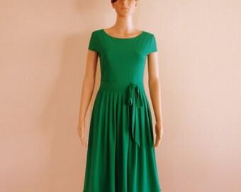 Green Evening Dress.Cap Sleeves Dress.Bridesmaid Dress
