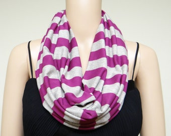 Stripe Circle Scarf. Stripe Infinity Scarf. Soft Cotton Spandex Loop Scarf.