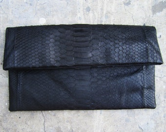 BASIC - Black Fold Over Python Snakeskin Leather Clutch