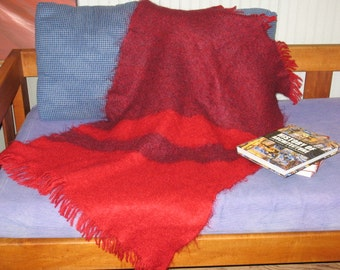 Handwoven Throw - Mohair Red