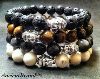 Men's Beaded Buddha Bracelets (Silver)
