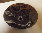 Whitetail Buck Deer painted rock- reserved for John Demuth
