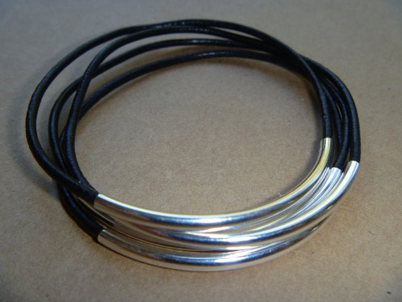 Black Leather Silver Tube Bangle Bracelet Set of 4