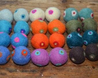24 Pcs Double Polka Dots Wool Felt Balls (2cm)