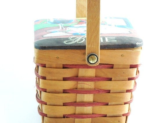 Vintage Basket with Lid. Cheese. Wine. French Country Home. Kitchen Decor. Unique Storage.