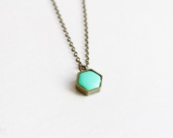 mint hexagon - tiny geometric necklace, color pop, minimalist jewelry / gift for her