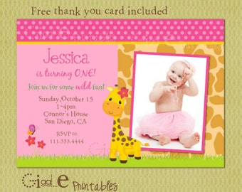 Giraffe Birthday Invitation - FREE thank you card included