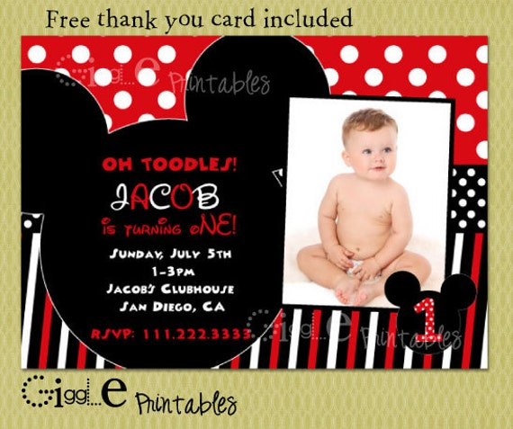 mickey mouse birthday invitation free thank you card, Birthday invitations