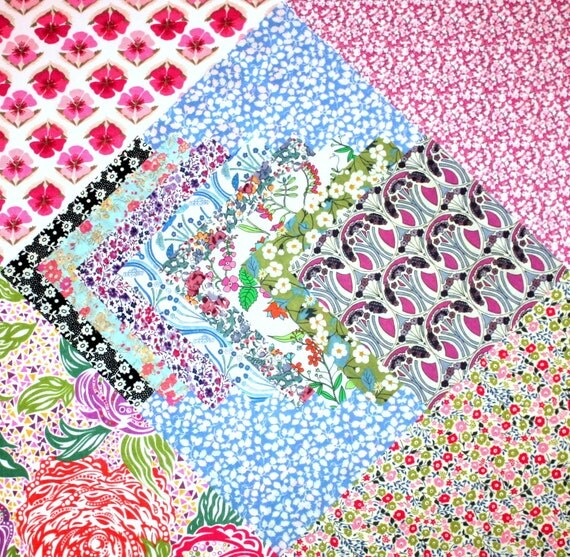 Liberty of London Tana Lawn Fabric Pack 10 inch and 5 inch pieces 100% Cotton
