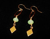 gold diamond earrings, dangle crystal drop earrings, dimond mint green and oval earrings.  geometric earrings,