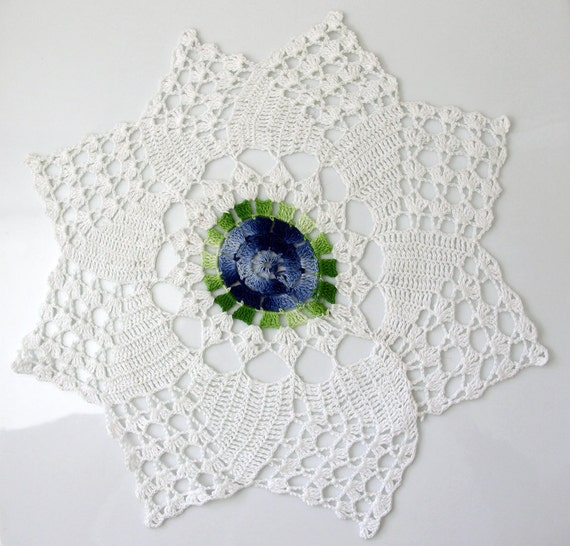 Vintage Crochet Doilies 3 Handmade White, Blue and Green Wedding Home Decoration