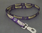 "Baltimore Ravens NFL on Black Webbing Ribbon Dog Leash 1"" Wide 6' Double Sided"
