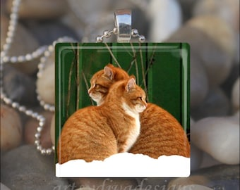 SNOW CATS Winter Kitty Cat Friends Love Glass Tile Pendant Necklace Keyring