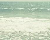 Ocean Waves photograph Digital Download  mint green photograph pastel wall art Beach Photography
