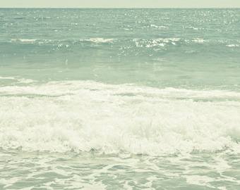Ocean Waves photograph Digital Download  mint green photograph pastel wall art Beach Photography