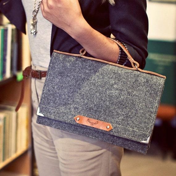 Felt Bag With Leather Handle - SPARROW BAG