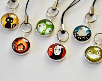 Totoro & Studio Ghibli Characters - 3 Keychains/Cellphone Charm -  kodoma, noface, calcifer, princess mononoke, spirited away, anime