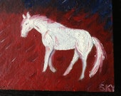 "White Horse, Patriotic original oil  painting, Red/white/Blue, canvas board 5""x7"""