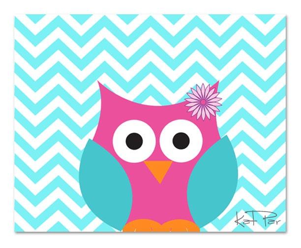 Cute Baby Girl Owl Blue Chevron Print Baby By KathyParDesign