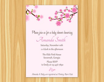 Cherry Blossom Invitation | Cherry Blossom Baby Shower Invitation | Cherry Blossom Party