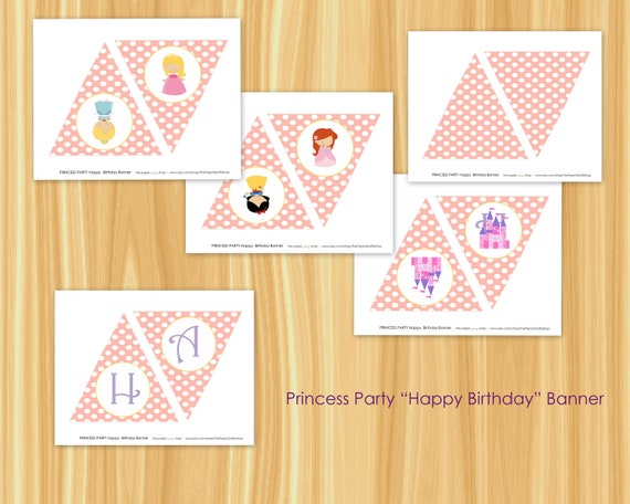 Princess Party Happy Birthday Pennant Banner Princess Party