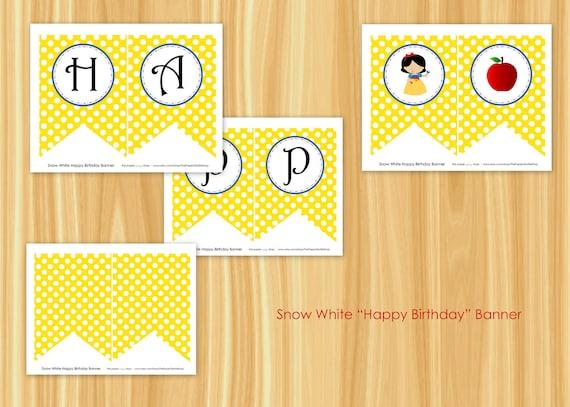 Snow White Banner | Snow White Happy Birthday Pennant Banner | Snow White Party | Snow White Birthday Party