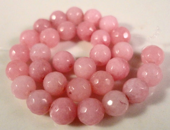 Pink Jade Gemstones 6mm Faceted Round Dyed Pink Gemstone Beads on a 7 1/2 Inch Strand with 31 Beads