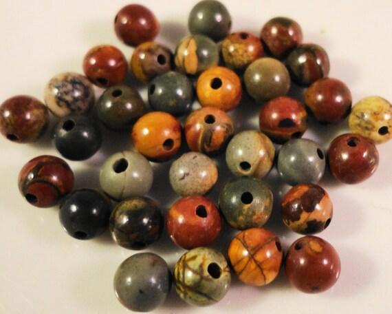 Picasso Jasper Gemstone Beads 4mm Round Multicolor Red Creek Jasper Beads, Natural Gemstone Beads, 4mm Stone Beads, 45 Loose Beads per Pack