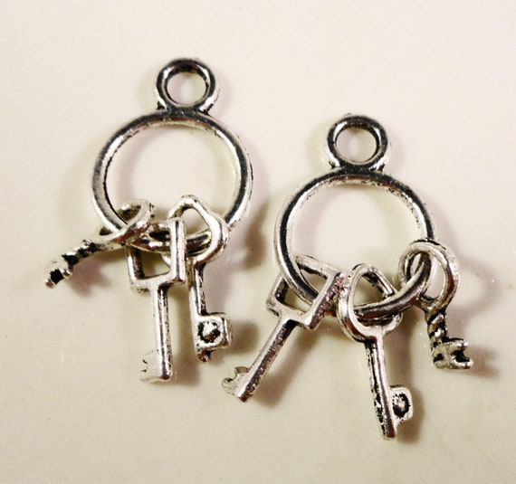 Silver Key Charms 24x12mm Antique Silver Key Ring Charms, Silver Key Pendants, Jewelry Making DIY Craft Supplies, Metal Jewelry Charms, 10pc