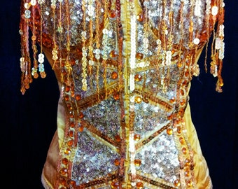 SALE Gorgeous Golden Corset decorated with sequined fringe, micro sequined fabric, rhinestones, golden sequined trim for burlesque showgirl