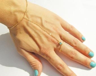 16K Gold Plated Slave Bracelet with Swarovski Rhinestone Accent in Blue