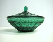 Beautiful Vintage Emerald Green Candy Dish with Lid