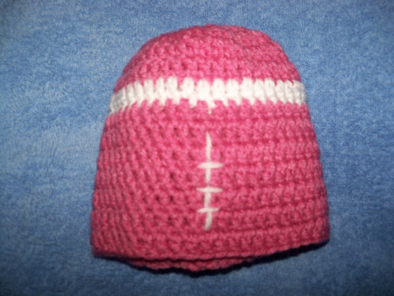 Crocheted Girlie Football Baby Hat - Pink - Size 6 months