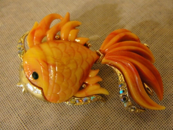 Plastic lucite coral colored koi fish brooch by for Plastic koi fish