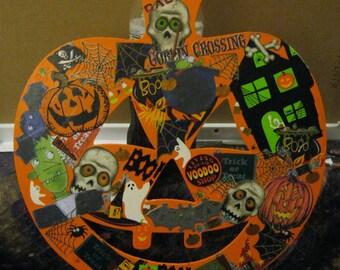 Orange Painted Pumpkin Halloween Collage Wooden Door Hanger