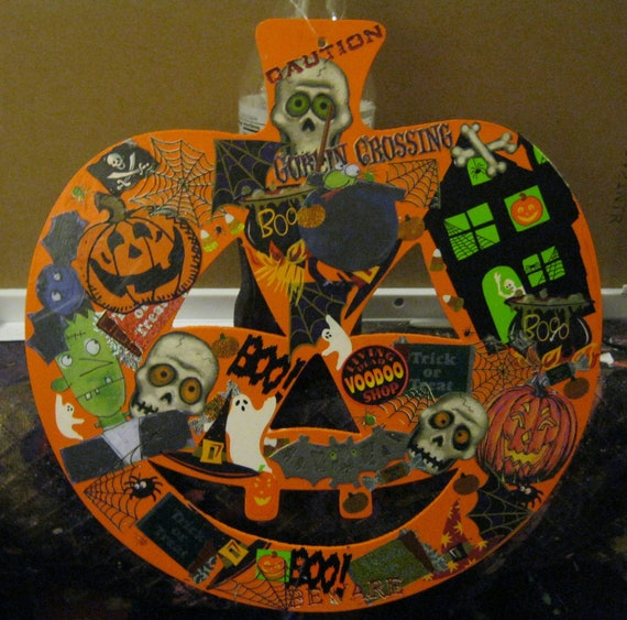 Orange Painted Pumpkin Halloween Collage Wooden Door Hanger