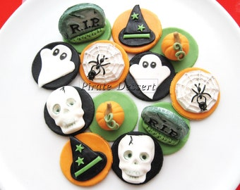 edible halloween cupcake toppers halloween cupcakes fondant cake decorations classic halloween theme 12 - Edible Halloween Decorations