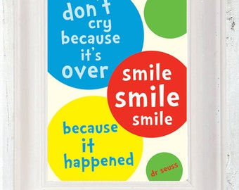 Dr Seuss Quote Poster, Smile, A3, Typographic Poster