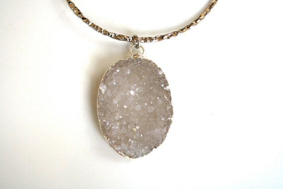 Gray Druzy Silver Necklace with Hoop