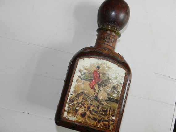 Vintage Leather Covered Bottle Hunting Scene from Italy
