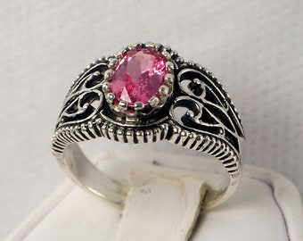 Pink Spinel Ring,  Sterling Silver Filigree Ring, 1.20 Ct. - RING SIZE 8