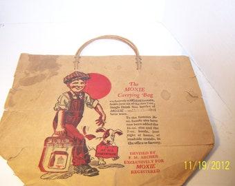 1940's  Moxie Soda Paper Carrying bag Bottle