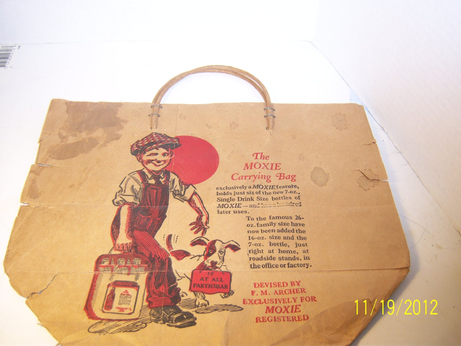 1940's Moxie Soda Paper Carrying Bag Bottle