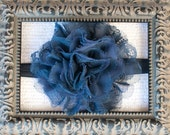 ON SALE, Navy Headband, Giant Shredded Lace Navy Flower Headband or Hair Clip, Newborn Headband, Infant, Baby Headband, Girl and Adult