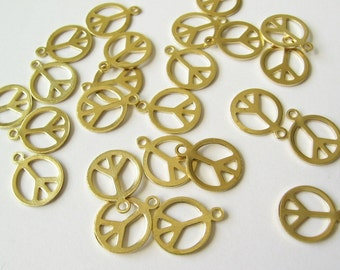 Brass peace sign charms 36 pcs