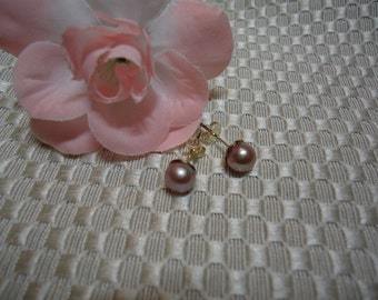 Mauve pearls set in Sterling Silver   #186