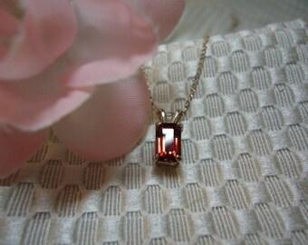 Emerald Cut Rhodolite Garnet Necklace in Sterling Silver