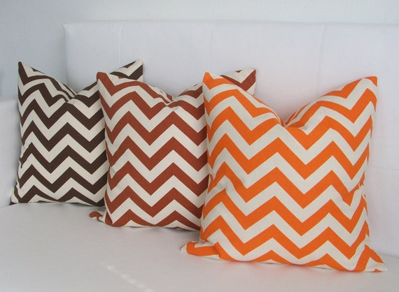 OCTOBER SALE - Fall Pillows - Brown, Rust and Orange Chevron Pillow Covers on Natural - Three - 16x16